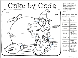 Worksheet for (very) young learners who have just started reading. Classroom Freebies Too Halloween Color By Code Halloween Worksheets First Grade Phonics Classroom Freebies