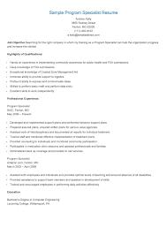 Program Specialist Resume Waiter Resume Examples For Letters Job