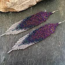 Ultra Violet Statement Earrings Long Purple Blue <b>Silver</b> Ombré ...