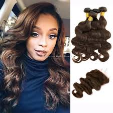 Light Brown Weave Sew In 4 Bundles With Lace Closure Dark Brown Brazilian Body Wave Virgin Hair Weave Bundles Free Part Middle Part Three Part Cheap Lace Closure Piece Sew In