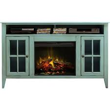 calistoga blue 60 fireplace tv stand console w distressed finish