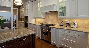 ... Kitchen Backsplash Ideas With White Cabinets Modern Design Cream  Granite Countertop Gray Appliances Brown Table With ...