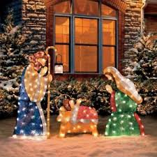 Image is loading 3pc-Lighted-Nativity-Scene-Holy-Family-Display-Outdoor- 3pc Lighted Nativity Scene Holy Family Display Outdoor Christmas
