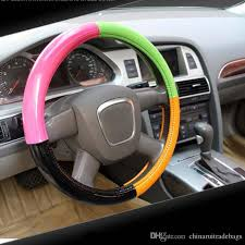 38cm universal car steering wheel cover decoration antislip breathable fashion pu leather mixed color car steering cover steering wheel covers with