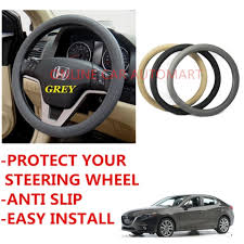 circle cool 7425 grey easy grip anti slip high grade leather steering wheel cover for mazda 3