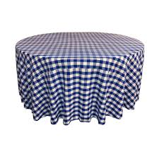 la linen 120 in white and royal blue polyester gingham checd round tablecloth