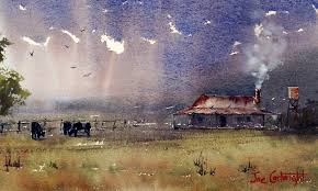watercolor paintings old farm with storm cloud by joe cartwright australia storm clouds watercolor and storms