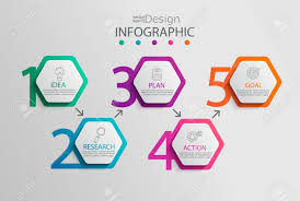 Chart Paper Presentation Paper Infographic Template With 5 Hexagon Options For Presentation