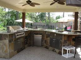 Kitchen, Fascinating Outdoor Kitchens Bbq Island With Marble Kitchen And  Burner And Refrigerator And Fans ...