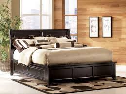 Dark Brown Wooden Platform Beds With Storage Drawers And Head Board