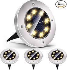 <b>Solar</b> Lights <b>Outdoor</b>, <b>Solar</b> Disk Lights <b>8 LED</b> Waterproof <b>Solar</b> ...