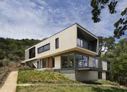 image of contemporary house plans for homes built into a hill