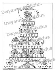 Tea Party Cupcakes Kleurplaat Pagina Jpg Etsy