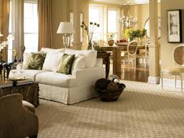 living room with patterned carpet