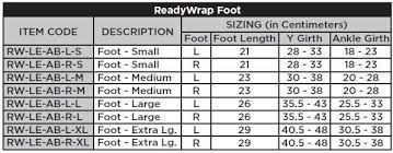 Solaris Ready Wrap Sizing Chart Solaris Readywrap Foot Unit Rw Le Ab