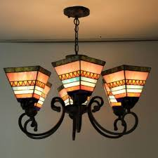 30 wide six lights colorful mission style tiffany chandelier with adjule chain