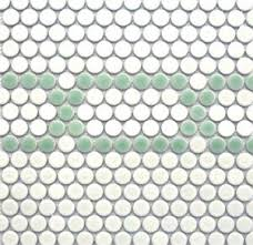 White & Mint Penny Tile Mosaic Pattern - Linked