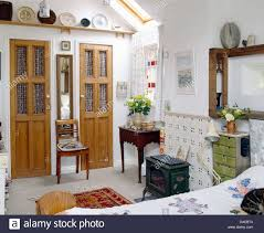 Small Cottage Bedrooms Pine Doors With Glass Panels On Built In Wardrobes In Cottage