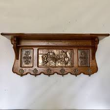 Antique Oak Coat Rack Awesome Antique Oak Coat Rack With Brass Images In Relief With Six Hooks