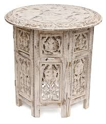 now souvnear handmade shabby chic wooden side table in white color distressed finish crafted in folding design with a round top decorated with