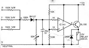 electronics projects simplest single phase preventor circuit for simplest single phase preventor circuit for three phase motor potection