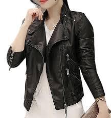 papijam women s faux leather zipper biker motorcycle slim coat jacket black rs32490 new look