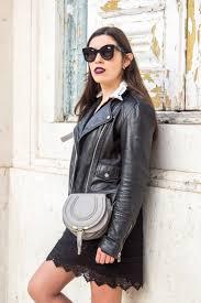 lace black white neck zara dress chloe mini marcie grey leather bag black big bold celine sunglasses mango leather biker black jacket 6731 en