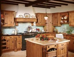 Kitchen, Light Brown Rectangle Traditional Wooden Kitchen Decor Themes  Ideas Varnished Design For Country Kitchen