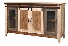madeline antique multi color 60 rustic sliding barn door tv stand console