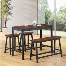 Costway 4 Pcs Solid Wood Counter Height Table Set W Height Bench Two Saddle Stools