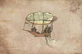steampunk airship wall art