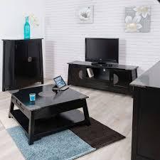 Table basse acajou : bois massif, carrée, noire, Thao, 85 cm