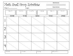 Small Group Weekly Planning Chart Math