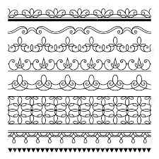 Set Of Simple Border Ornaments Ornamental Seamless Border Lines