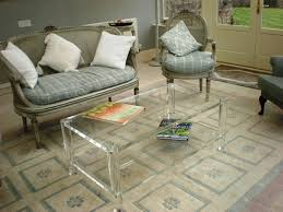 ... Coffee Table, Popular Clear Rectangle Minimalist Glass Acrylic Coffee  Table Idea For Living Room Decorating ...