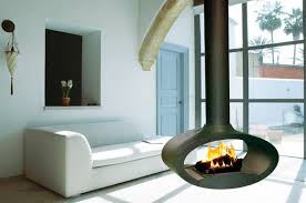 a ceiling mounted wood burning fireplace