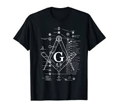 Mens Structure Of Freemasonry Square And Compass Diagram T Shirt