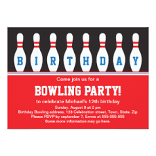 Bowling Party Invitations Kids Bowling Party Invitations Announcements Zazzle Uk