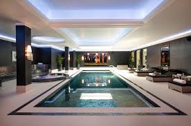 indoor pool lighting. Modern Lighting In Wall Decoration And Square Long Pool Ideas With Latest Rattan Chairs Furniture Indoor