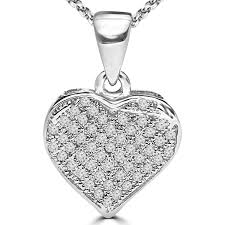 1 6 ctw round diamond heart pendant necklace in 14k white gold with chain mdr170025 necklaces best canada