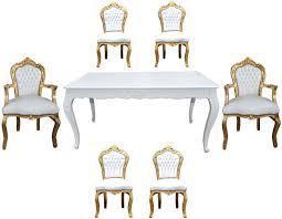 Casa Padrino Barock Esszimmer Set Weißgold Esstisch 6 Stühle