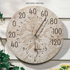 whitehall fossil sumac outdoor clock thermometer within and in designs 5