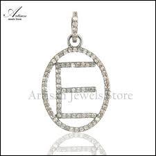 pave diamond initial alphabet e pendant charm 925 sterling silver pendant diamond jewelry