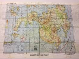 Aaf Cloth Chart Us World War Ii Multi Coloured Map On Acetate Rayon Printed
