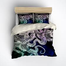 midnight octopus duvet bedding sets  ink and rags