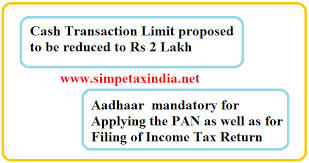 Aadhar Rate Chart 2017 Aadhaar Mandatory For Pan And Itr Filing Cash Limit