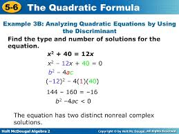 example 3b yzing quadratic equations by using the discriminant