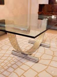 Italian Glass Dining Table Italian 1970s Chrome Brass Dining Table By Renato Zevi In