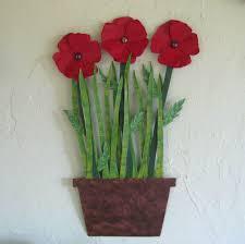 a hand made metal flower wall art sculpture poppies for metal poppy wall art