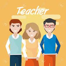 Young Teachers Teamwork Cartoons Concept Vector Illustration